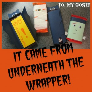 Halloween care package ideas. Includes a free candy bar wrapper printable to turn chocolate bars into Frankenstein.