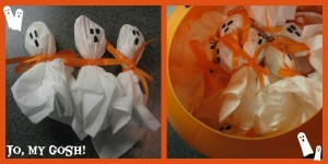 Halloween care package inspiration-- including lollipop ghosts!