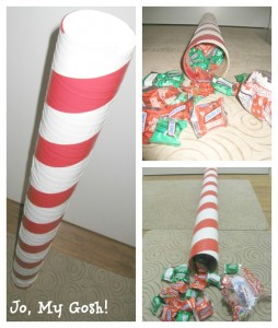 Use duct tape and a poster tube to send a gigantic peppermint stick in the mail