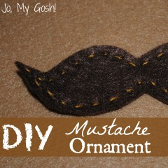Free template and directions for creating a felt mustache ornament.