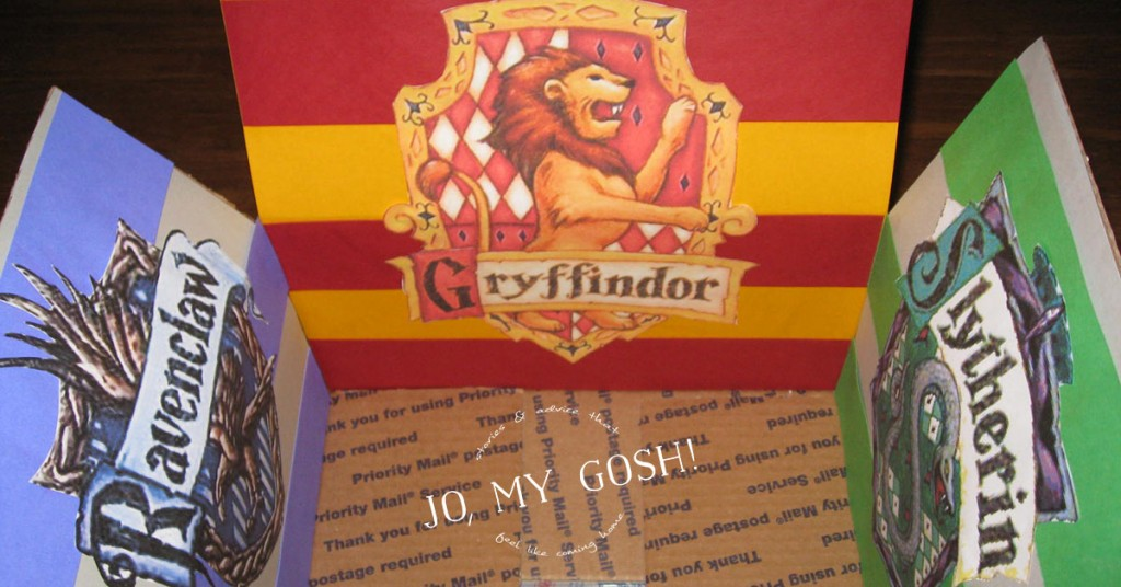 A Harry Potter themed care package with all of the houses of Hogwarts-- Hufflepuff, Ravenclaw, Gryffindor, and Slytherin. Comes with ideas of themed snacks and gifts, too. (5)