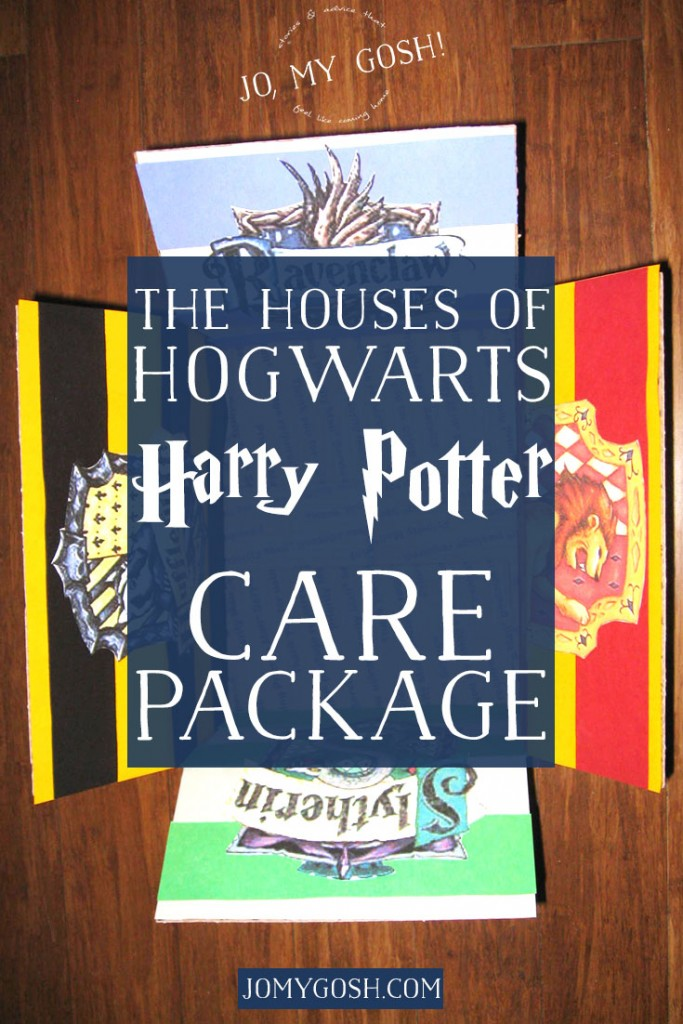A Harry Potter themed care package with all of the houses of Hogwarts-- Hufflepuff, Ravenclaw, Gryffindor, and Slytherin. Comes with ideas of themed snacks and gifts, too. (3)