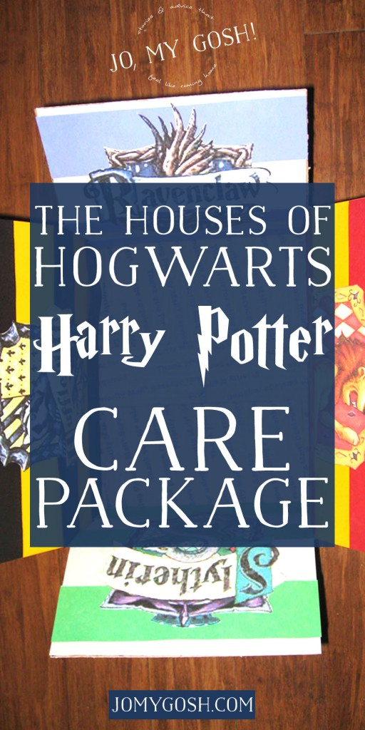 A Harry Potter themed care package with all of the houses of Hogwarts-- Hufflepuff, Ravenclaw, Gryffindor, and Slytherin. Comes with ideas of themed snacks and gifts, too. (4)
