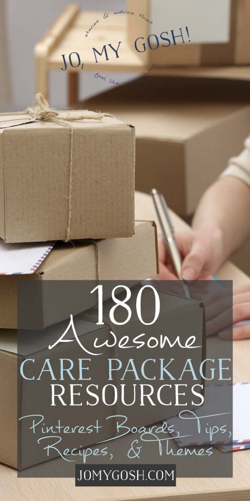 Tons of resources for care packages; love the list of Pinterest boards especially!