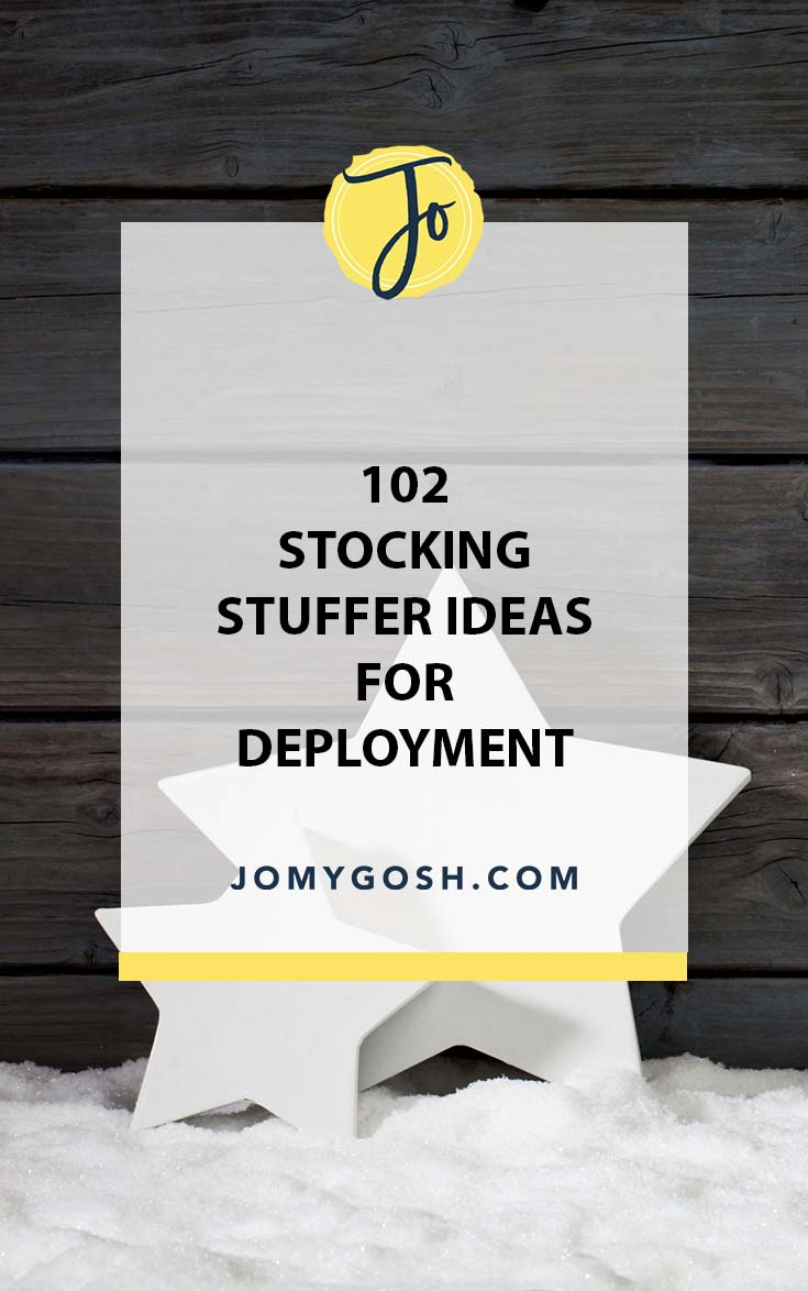 Lots of stocking stuffer gift ideas, perfect to send for Christmas during deployment. Saving this list! #miiltary #carepackage #carepackages #stockingstuffer #stockingstuffers #militaryfamily #milfam #milspouse #militaryspouse
