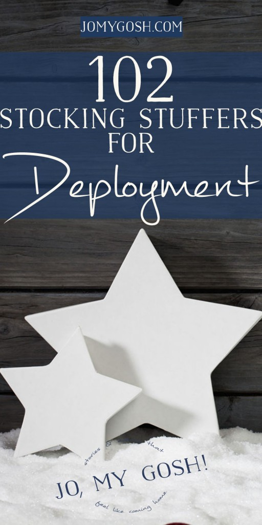Lots of stocking stuffer gift ideas, perfect to send for Christmas during deployment. Saving this list!