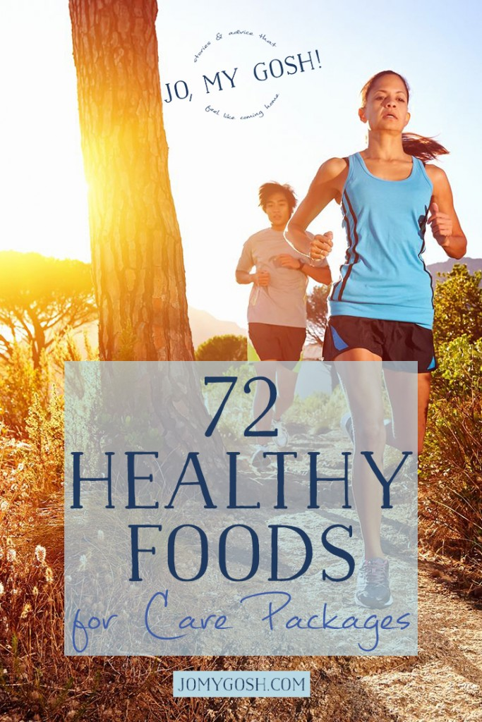 A ton of suggestions for healthy foods to send in care packages. Perfect for deployed military, college students, and missionaries.