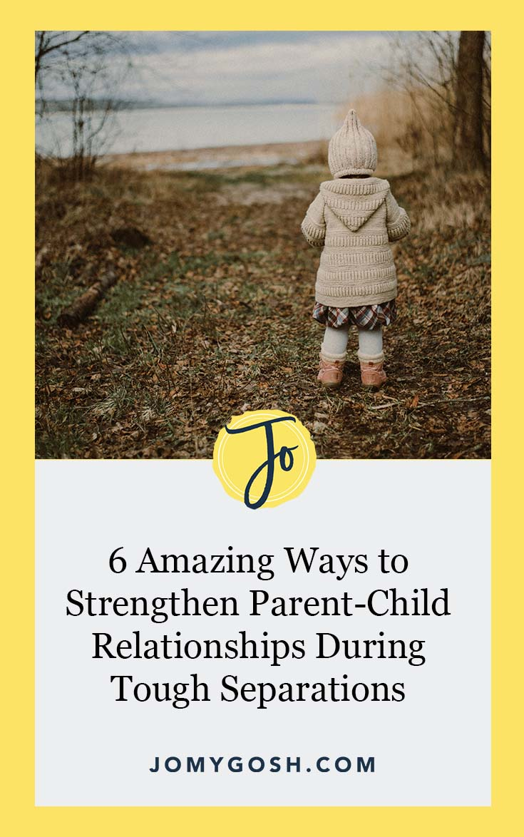 Separations, like deployment, can be difficult for anyone, but especially for kids. Use these strategies to strengthen bonds between parents and children, no matter how far apart they are. #military #milfam #militaryfamily #parenting #parentingadvice #child #children #milspouse #militaryspouse #milspo #milso #jomygosh #separation #deployment
