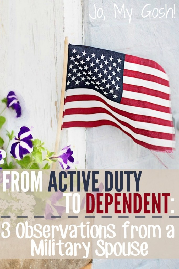 Transitioning from being in the military to being a military spouse can be hard. 3 observations from a milspouse who did it.