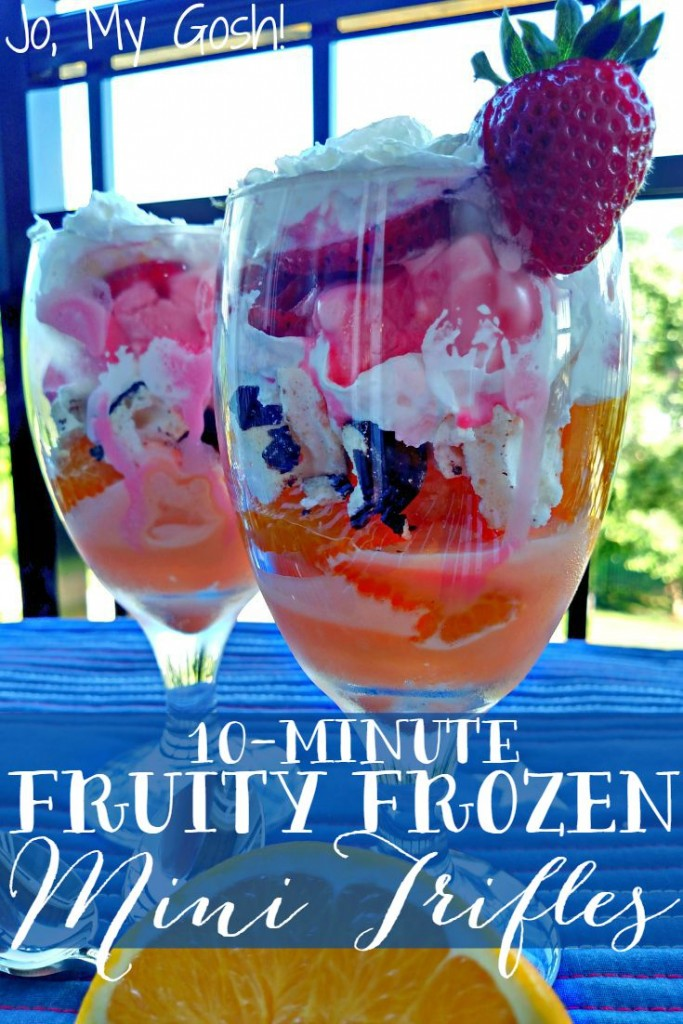 Fruit, sorbet, whipped cream, and meringue dessert? Summer in a glass!
