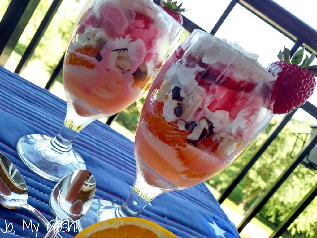 Fruit, sorbet, whipped cream, and meringue dessert? Summer in a glass!