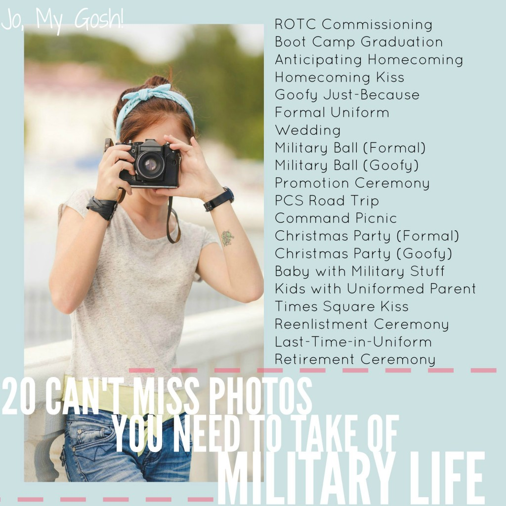 Perfect list to keep-- photos of military life.