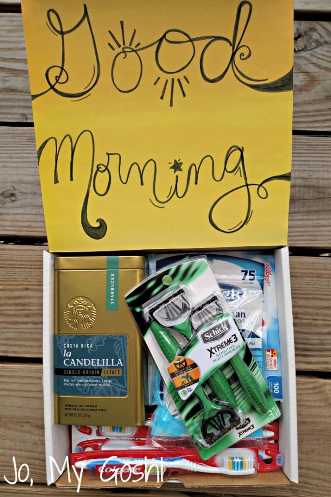 How to create a cute morning care package. For college students, military, or missionaries.