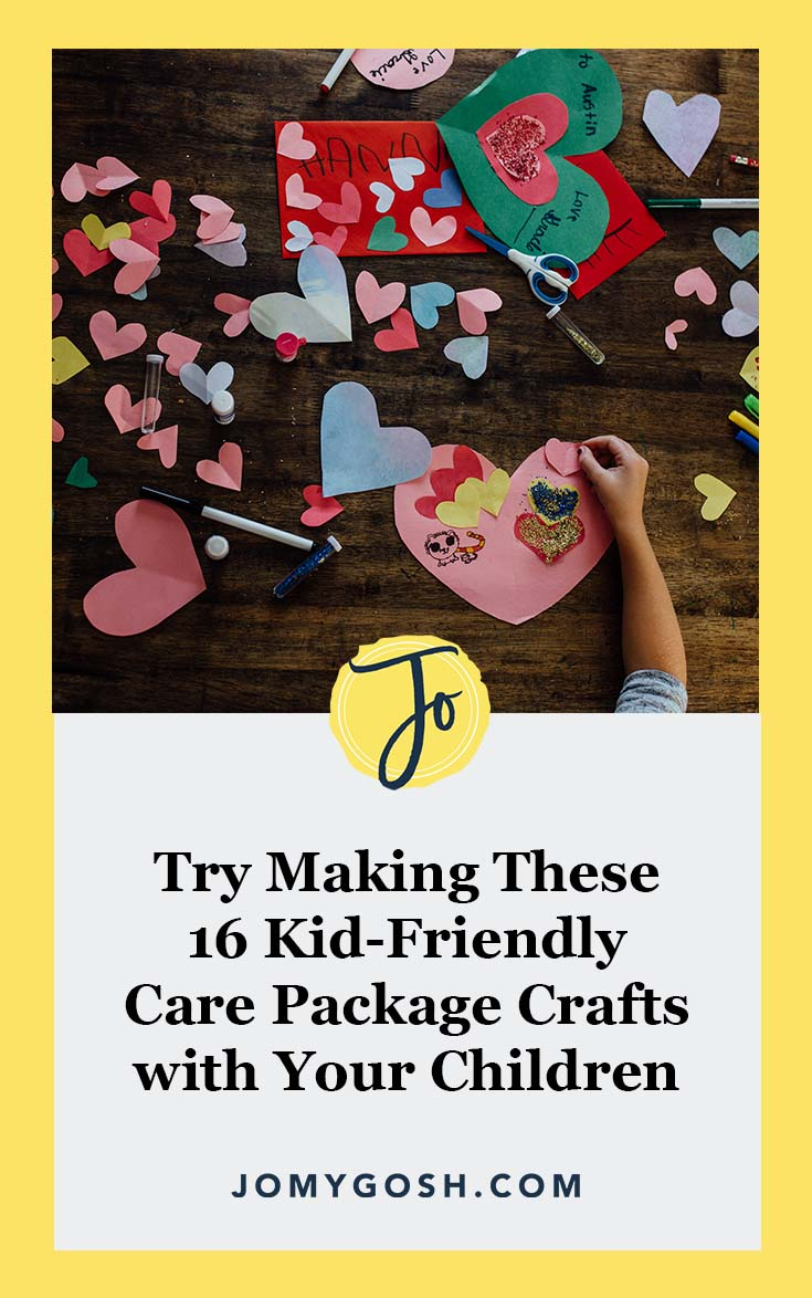 There's nothing like a kid-made craft in a care package. From coloring the box to making fun items to put inside, it brings a smile to everyone's face. #crafting #crafts #family #kids #children #deployment #military #milfam #jomygosh #army #navy #airforce #marines #coastguard #arng #reserves