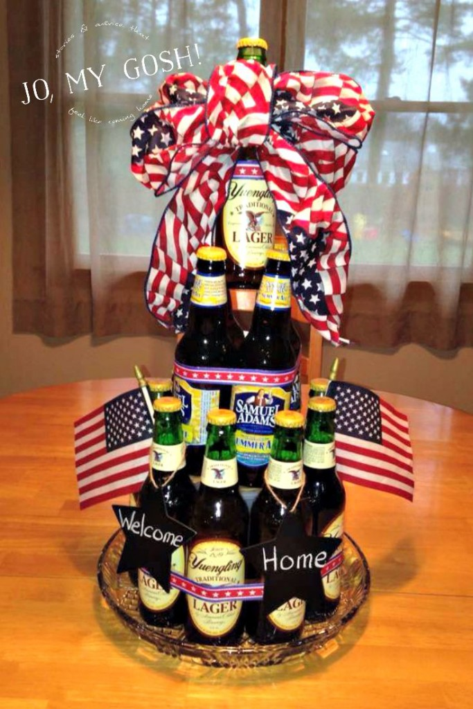 How to make a beer cake for a military homecoming-- easy and cute idea! <3