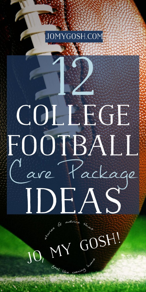 Round up with college football care packages, includes Pinterest links so you can save them easily!