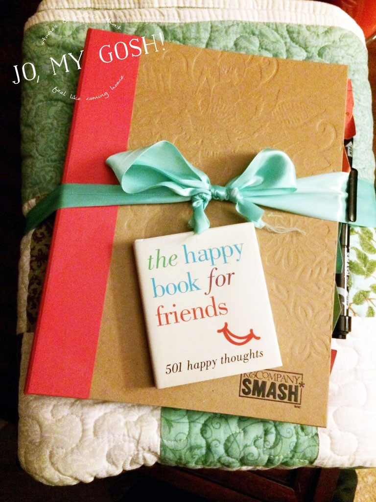 Love this idea-- sisterhood of the traveling blanket to keep friends close when you're far away from each other. <3