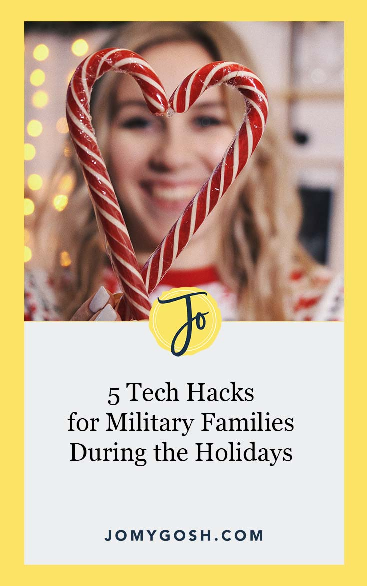 The holidays can be a difficult time for military families who are separated. Use these #tech #hacks to shrink the distance. #ad #military #holidays #christmas #jomygosh #militaryfamily #milfams #longdistance #ldr #longdistancerelationship #parenting