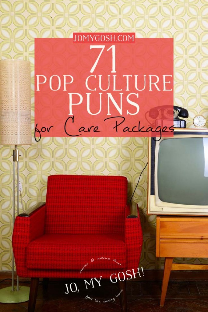 Care package puns using pop culture including Dr. Who, Disney, Harry Potter, celebrities, LOTR and Dexter.