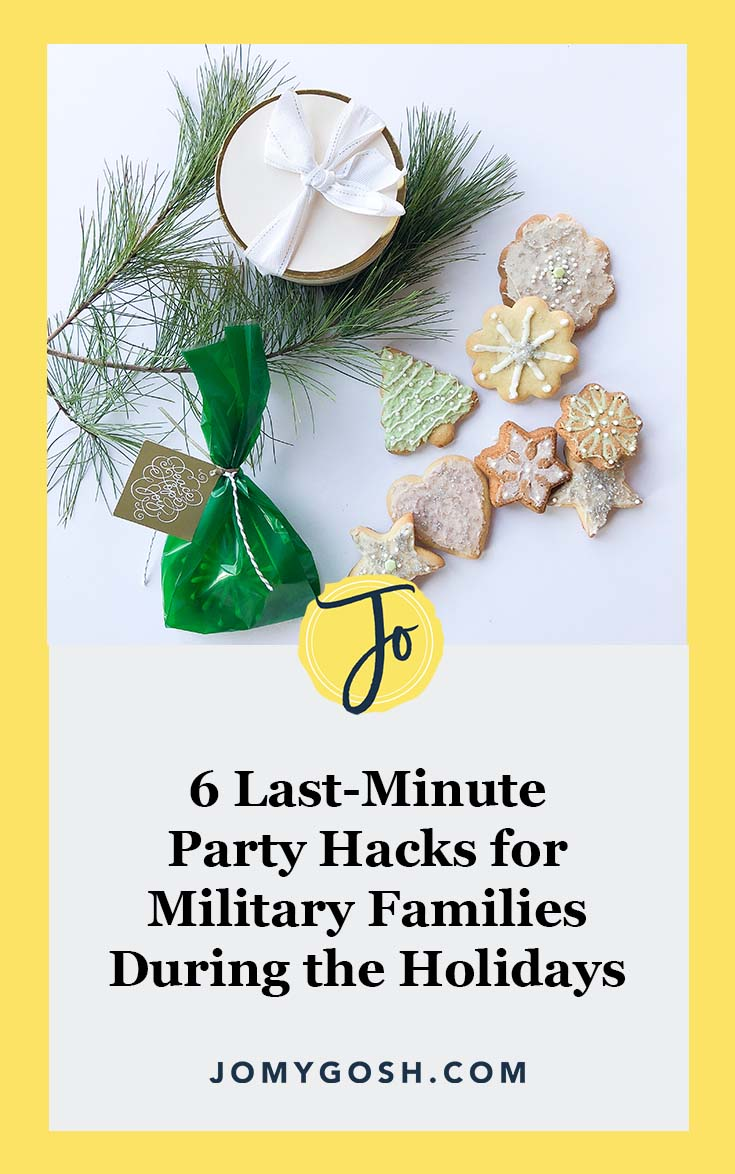 Throwing a party? These hacks will save you time and money. #ad #militaryfamily #christmas #militarydiscount #veterandiscount #military #xmas #jomygosh #militarywife #militaryspouse #milspouse #chanukkah #hanukkah #thanksgiving #holiday #holidays #holidayparty #happyholidays #partyplanning #parties
