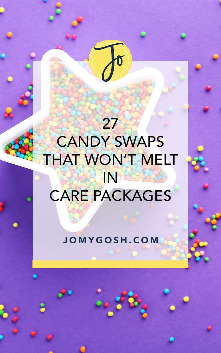 Sending a care package to a hot locale? Save this for treat options that won't melt. #happymail #deployment #candy #carepackage #carepackages #missionary #missionaries #jomygosh #craft #crafting #crafts #college #collegestudents #military #soldier #militaryfamily #deployment #deploymenttips #carepackagetips