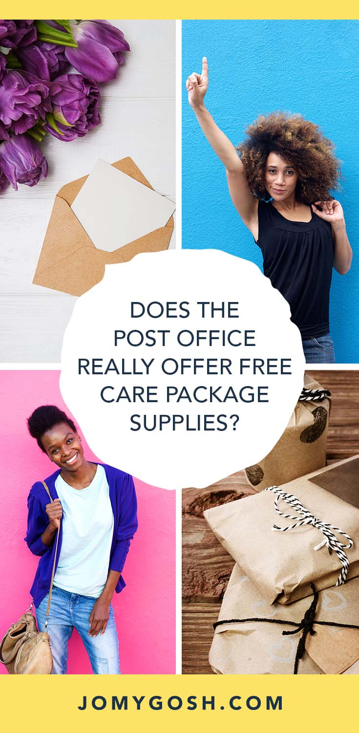 Do you need to spend money on care package supplies for your next shipment to a loved one? Here's everything you need to know about scoring free boxes, tape, and other stuff. #free #freebies #postoffice #mail #happymail #carepackage #care #package #carepackages #crafting #deployment #missionaries #jomygosh #military #collegestudent #collegestudents #savingmoney #saving #craft #crafts #crafting