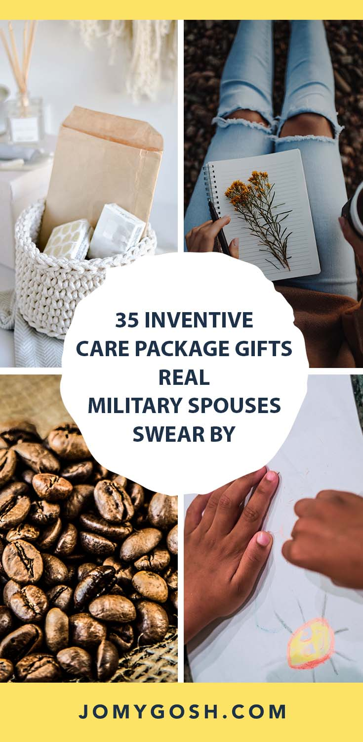 Use these great care package gift ideas by military spouses who have been there, done that.   You don't have to reinvent the wheel. #military #deployment #carepackage #carepackages #militaryfamily #milfam #milspouse #jomygosh