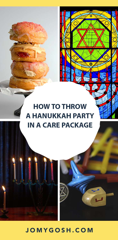 Here's everything you need for a Hanukkah care package! #hanukkah #chanukah #menorah #dreidel #military #college #carepackage #happymail #militaryspouse